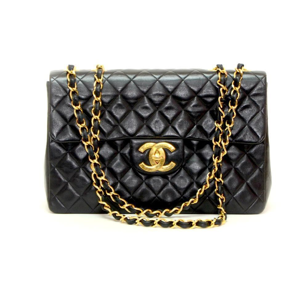 Authentic Chanel 35cm Black Matelasse Jumbo Flap Handbag