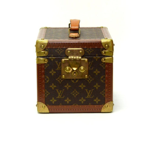 Authentic Vintage Louis Vuitton Cosmetics Case Trunk in Brown Monogram with Gold Hardware