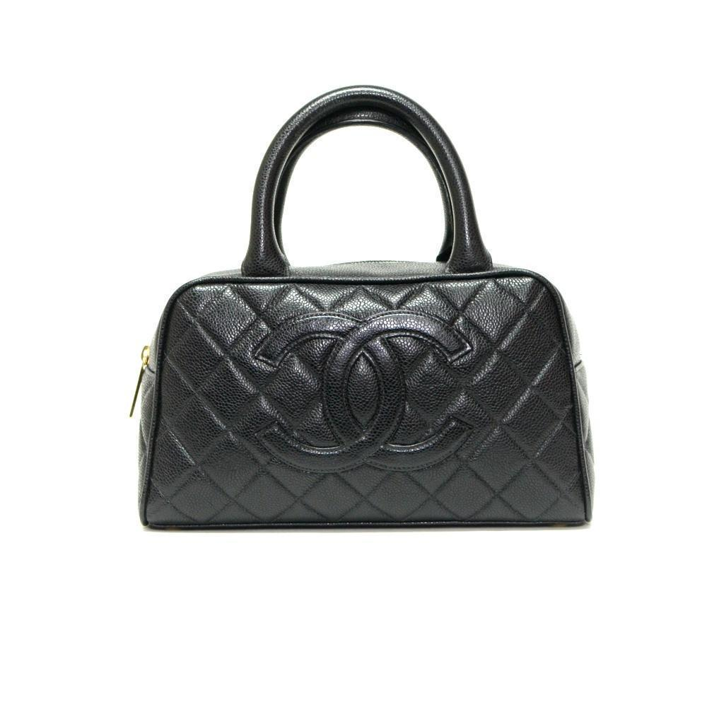 7e1e1d32cc90 Authentic Vintage Chanel Bowling Bag in Black Caviar Leather with Gold  Hardware