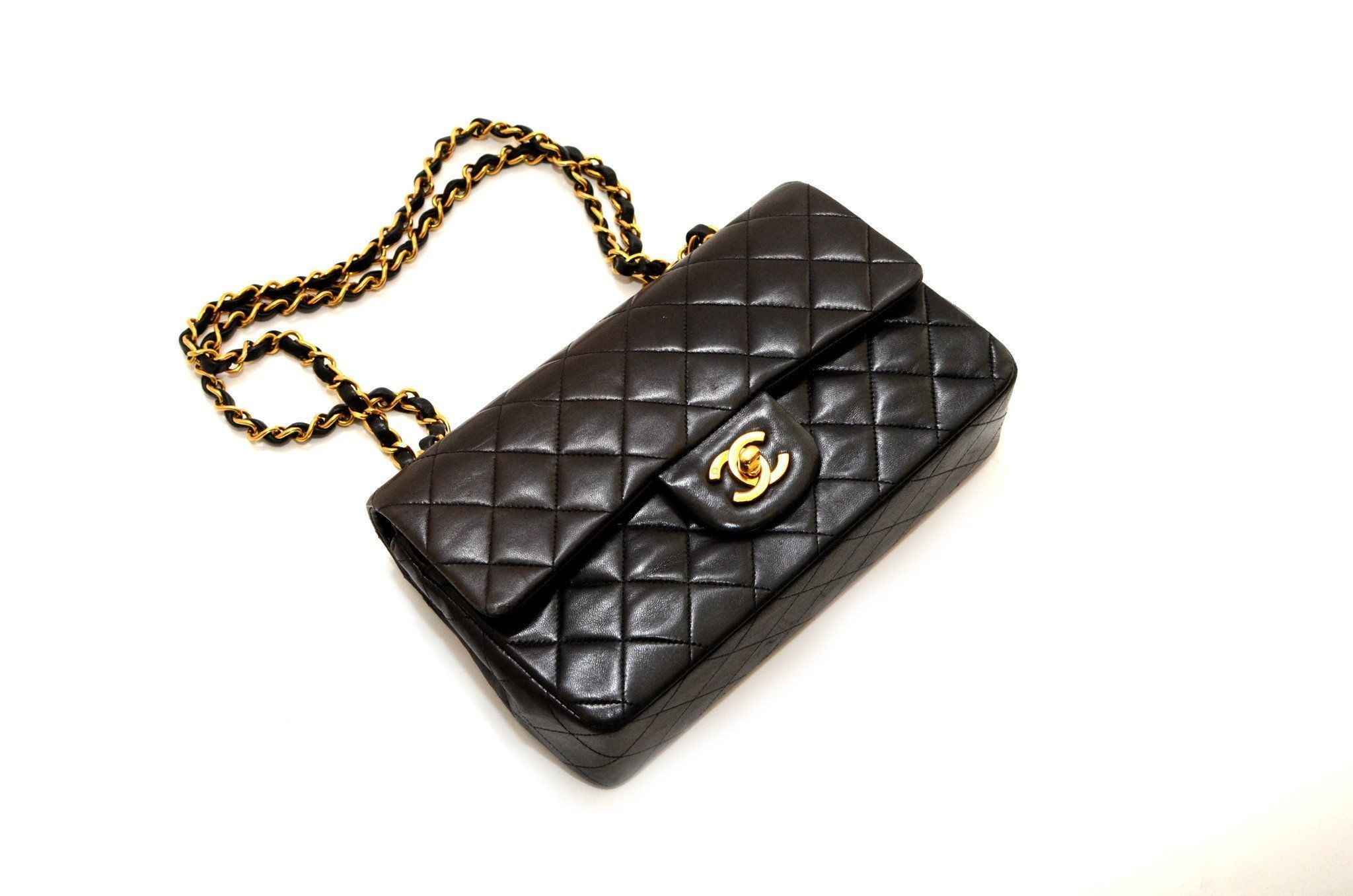 acbaf86d9aed Authentic Vintage Chanel 23cm Bag in Black Calf Leather with Gold Hardware