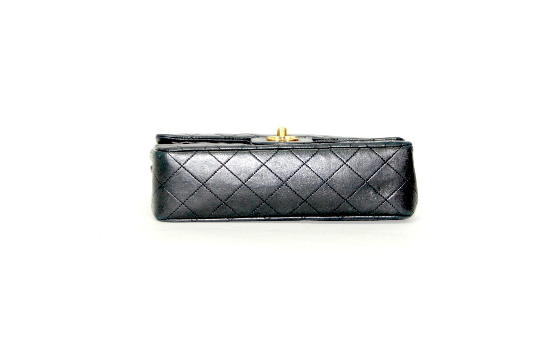 5a1011388fc596 Authentic Vintage Chanel 23cm Bag in Black Calf Leather with Gold Hardware