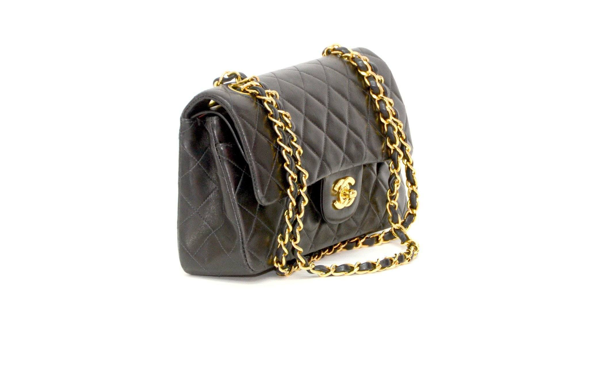 8be63a7ab5c031 Authentic Vintage Chanel Bag Handbag in Black Calf Leather – The ...