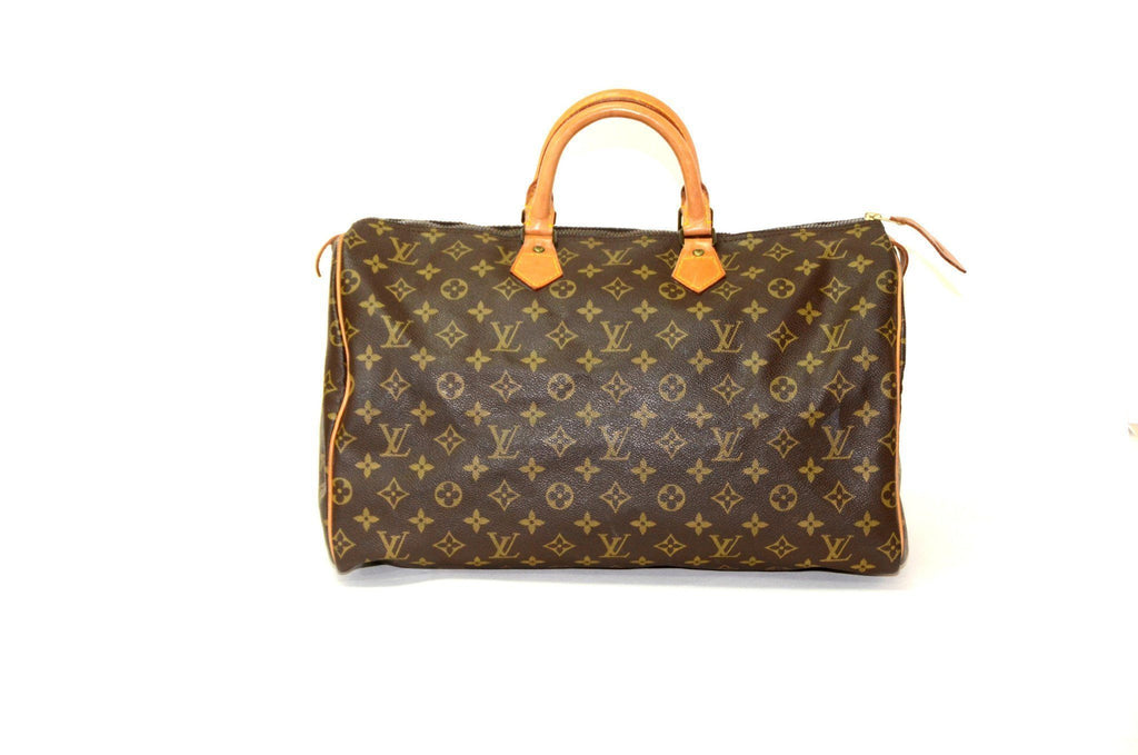 Authentic Vintage Louis Vuitton 40cm Monogram Speedy in Brown Canvas with Gold Hardware