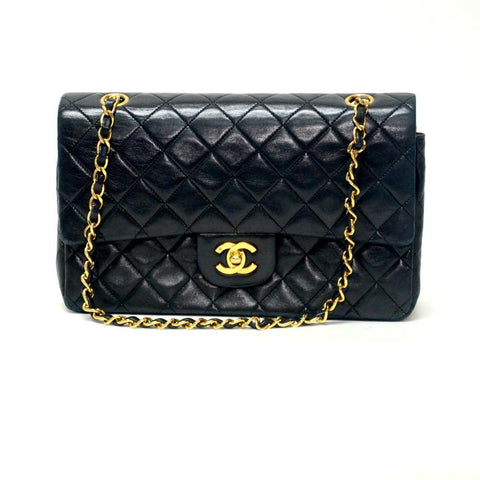 Authentic Vintage Chanel 25cm Bag in Black Calf Leather with Gold Hardware
