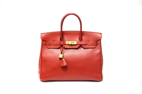 Authentic Vintage Hermes 35 cm Birkin Red Ardenne GHW