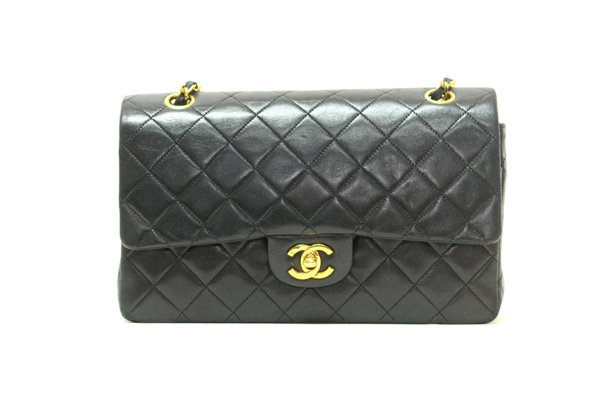 dd49de6dcc70 Authentic Vintage Chanel 25cm Bag in Black Calf Leather with Gold Hardware