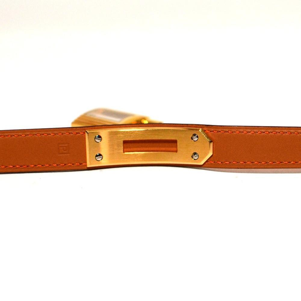 Authentic Vintage Hermes Orange Kelly Double Strap Watch with Gold Hardware