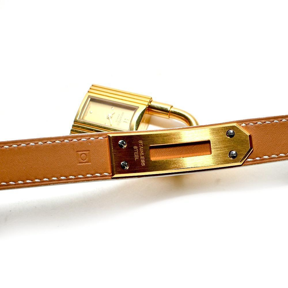 Authentic Vintage Hermes White Kelly Double Strap Watch with Gold Hardware