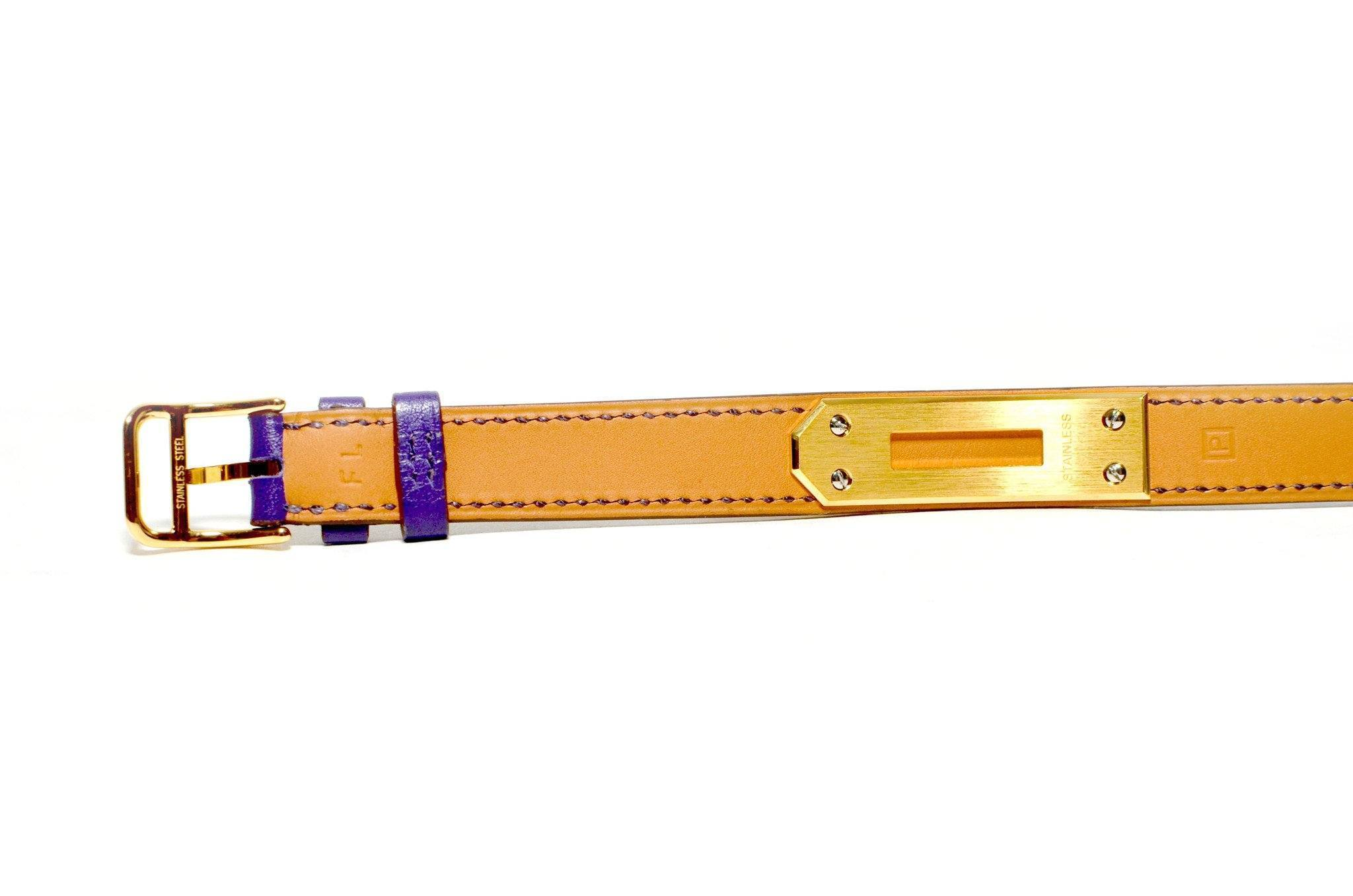 Authentic Vintage Hermes Purple Kelly Double Strap Watch with Gold Hardware
