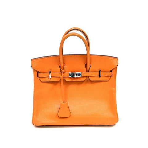Authentic Vintage Hermes 25cm Birkin Bag in Orange Ardenne Leather with Palladium Hardware