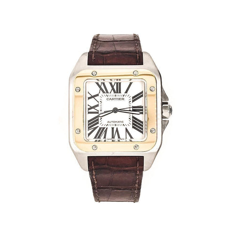 Cartier Santos 100 18k Yellow Gold & Stainless Steel Watch