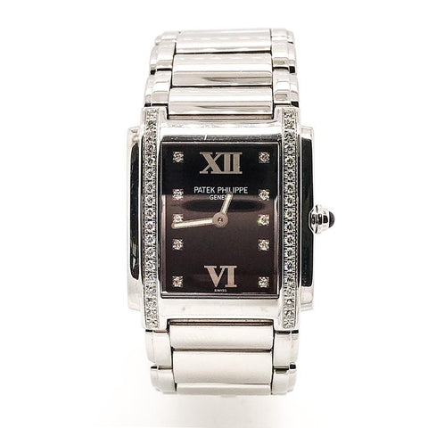 Patek Philippe Black Twenty-4 Stainless Steel Diamond Watch