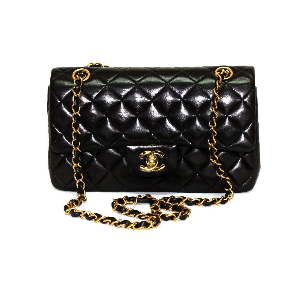 4dfad03c3f0519 Authentic Vintage Chanel 23cm Bag in Brown Calf Leather with Gold Hardware