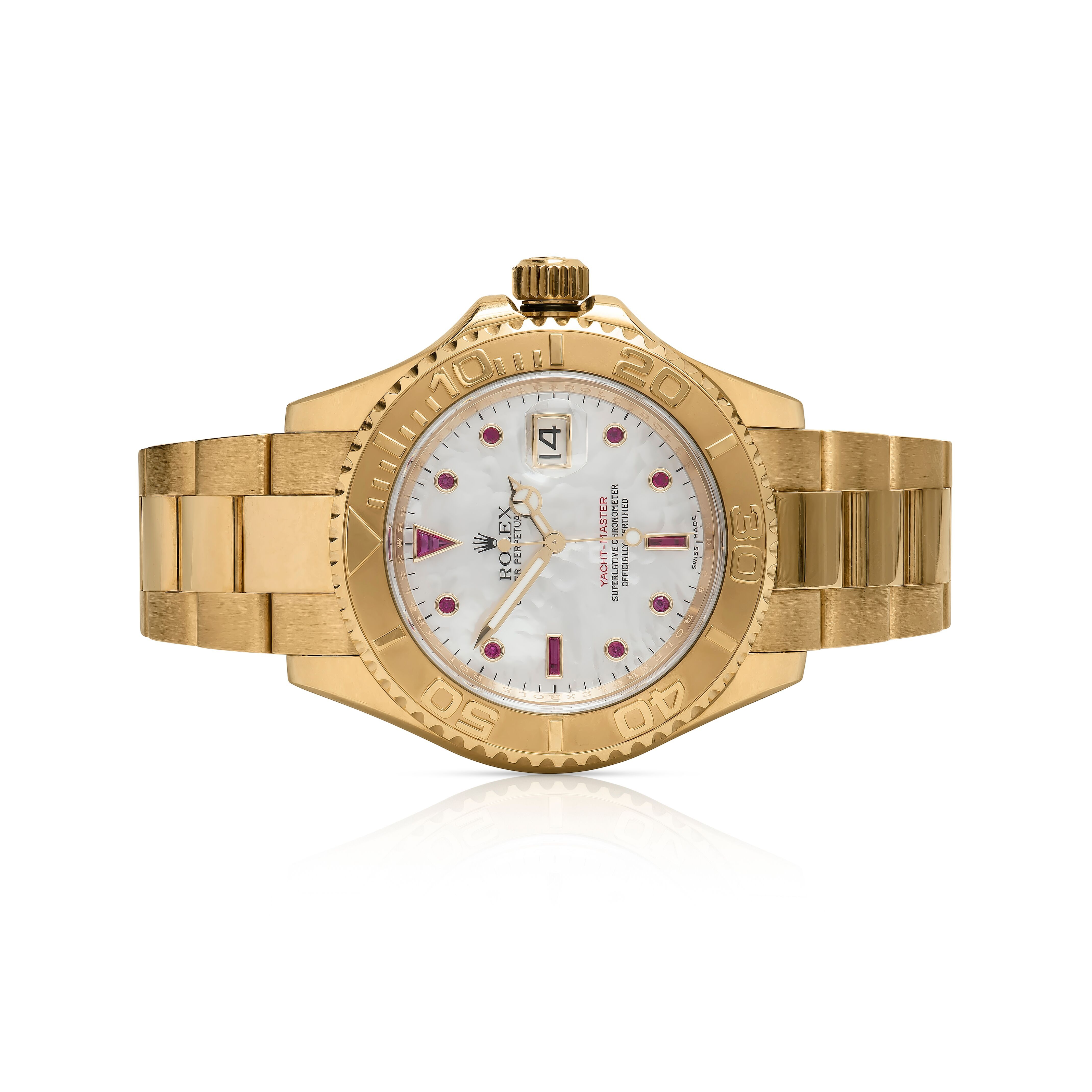 Rolex Oyster Perpetual 40mm Men's Yacht-Master 18k Yellow Gold with Mother Of Pearl Dial & Ruby Dial Watch