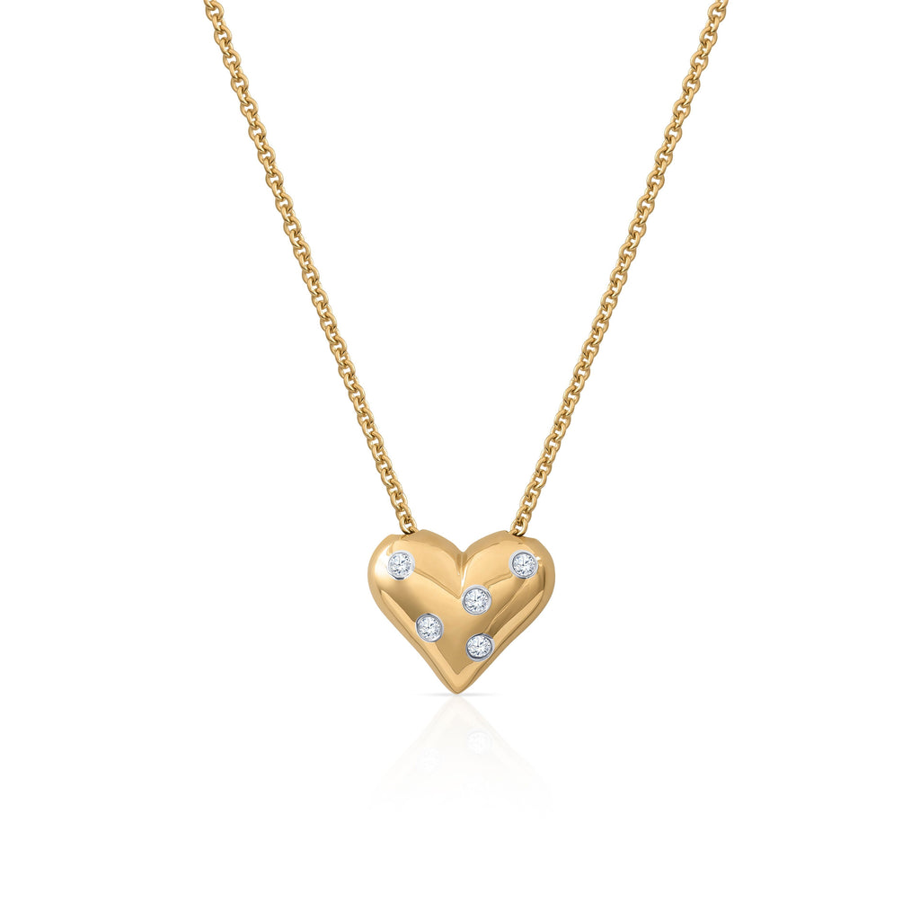 Tiffany & Co 18k Yellow Gold & Platinum 5 Diamond Etoile Heart Pendant Necklace