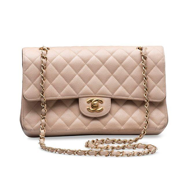 Chanel Caviar Quilted Medium Double Flap Beige with Silver Hardware