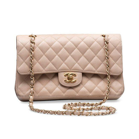 c8efaadf49d3 Chanel Caviar Quilted Medium Double Flap Beige with Silver Hardware