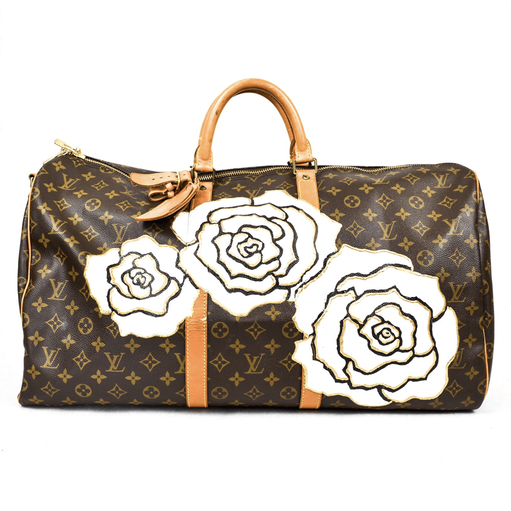 Vintage Louis Vuitton 50cm Keepall Bandouliere  with Vintage Contessa Flower
