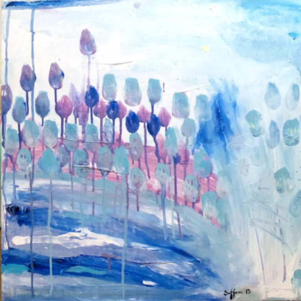 SaffronCraig Original PaintingBlossoming Tulips Over The Blue Water