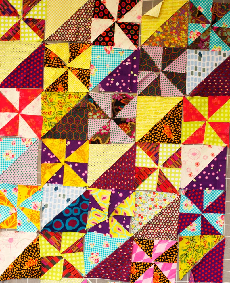 Saffron Craig Pinwheel quilt in Kaffe Fasset workshop 2014 Photograph by Saffron Craig