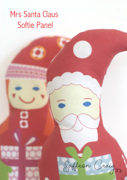 Saffron Craig Mr and Mrs Clause Softie Craft panels.