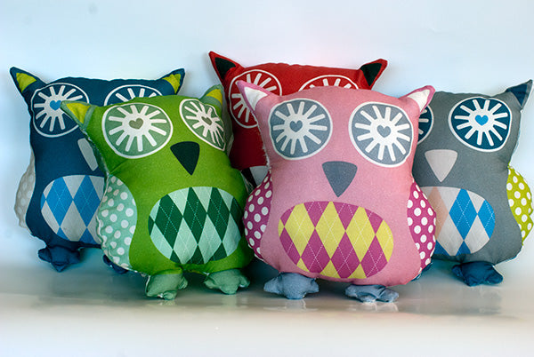 Saffron Craig brightly coloured Owl Softies