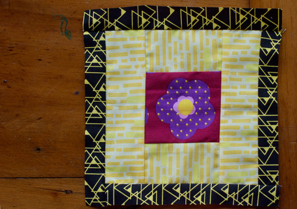 Saffron Craig Organic fabric Quilt Block using Valley View Fabrics