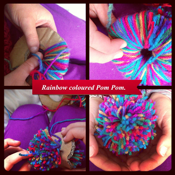 Saffron Craig Rainbow coloured Pom Poms