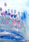 Original Painting Blossoming Tulips Over The Blue Water