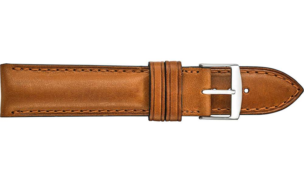 580 5MM HEAVY SEMI-PADDED & STITCHED LEATHER - TAN 20/18R - The Watch Aficionado