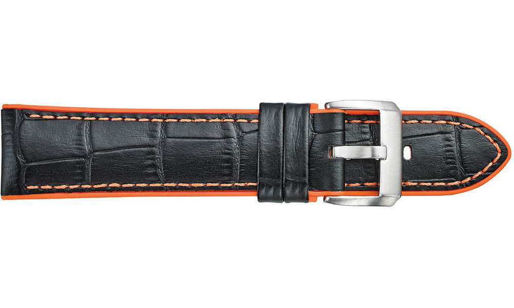 368 ALLIGATOR GRAINED LEATHER WITH ORANGE SILICONE LINING - ORANGE STITCH 22x20mm - The Watch Aficionado