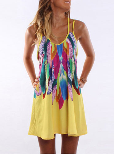 Feather Printed Tank Mini Summer Dress