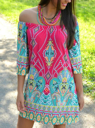 Off Shoulder Mini Dress - Multiple Prints and Colors  Three Quarter Length Sleeve