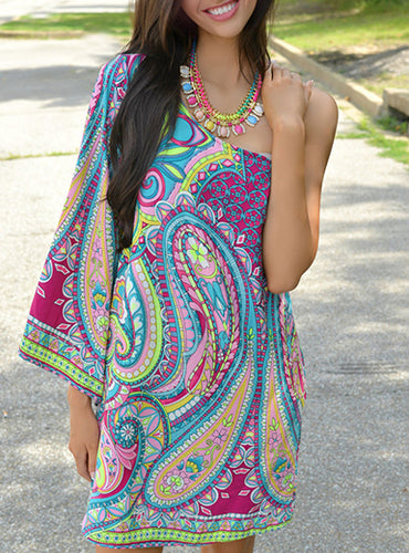 Single Shoulder Lightweight Tunic Dress - Paisley Printed Design