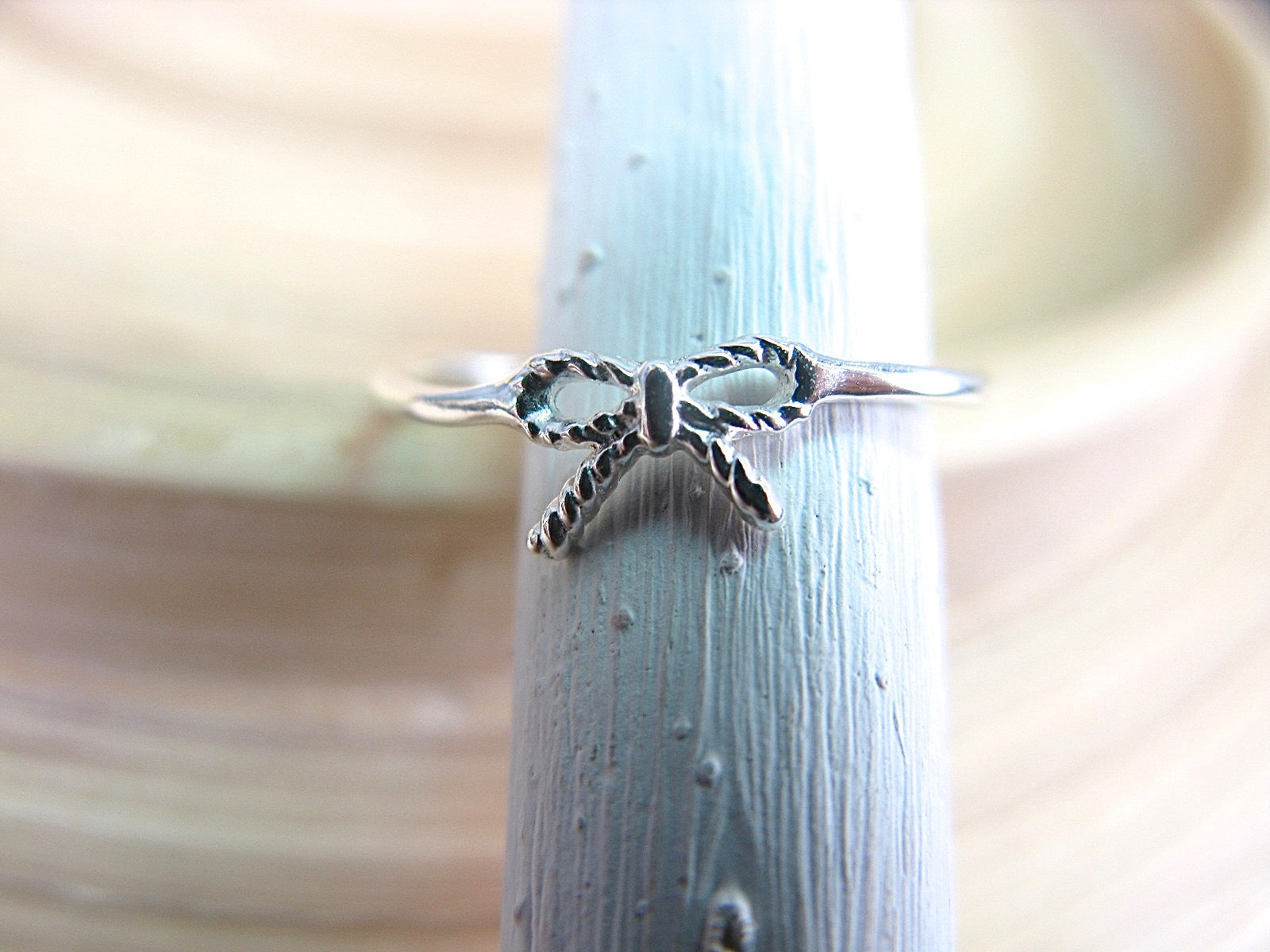 Ribbon Bow 925 Sterling Silver Ring Ring Faith Owl - Faith Owl