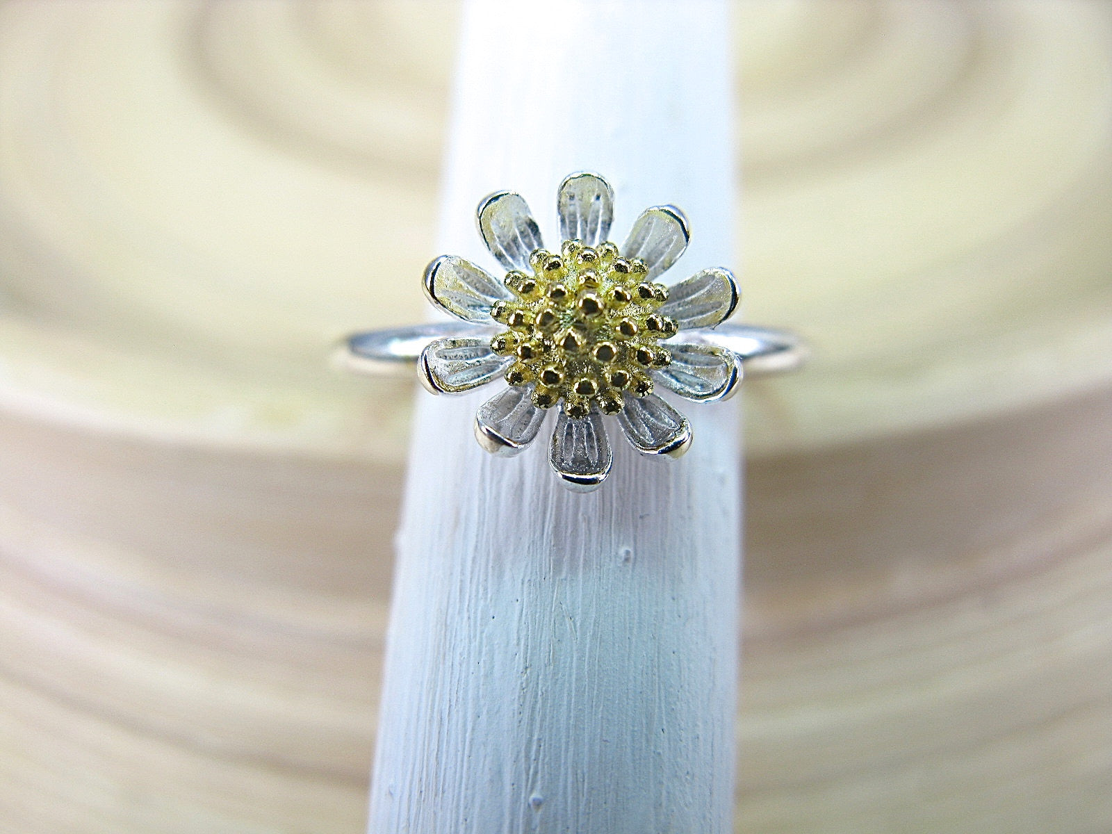 Sunflower Two Tone Gold Plated 925 Sterling Silver Ring