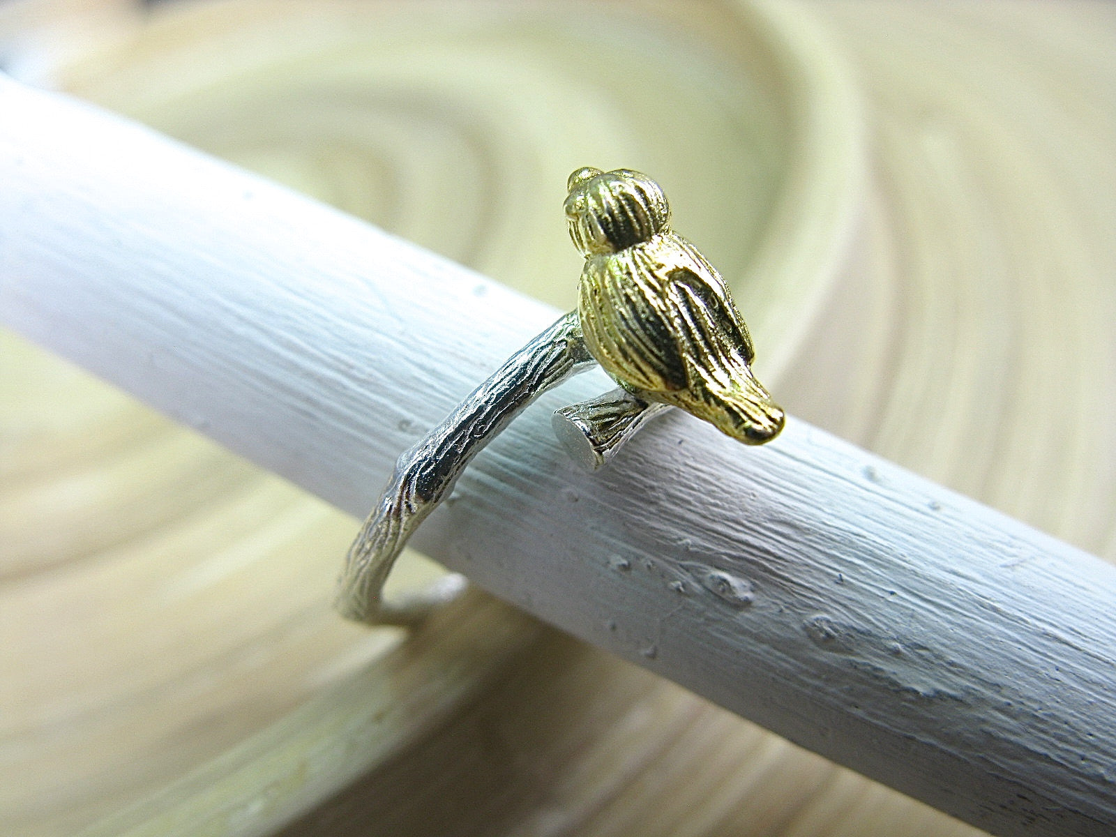 Bird Two Tone Gold Plated 925 Sterling Silver Ring Ring - Faith Owl