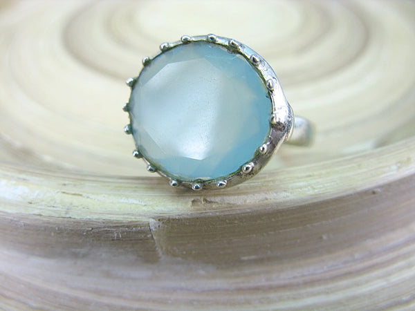 Blue Chalcedony Round 925 Sterling Silver Ring Ring - Faith Owl