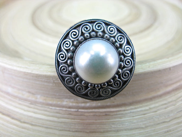 Balinese Pearl Handmade Round Oxidized 925 Sterling Silver Ring Ring - Faith Owl