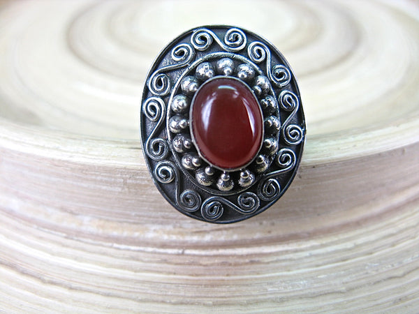 Balinese Carnelian Silver Ring - Oval Shaped Gemstone  925 Sterling Silver Ring - Faith Owl
