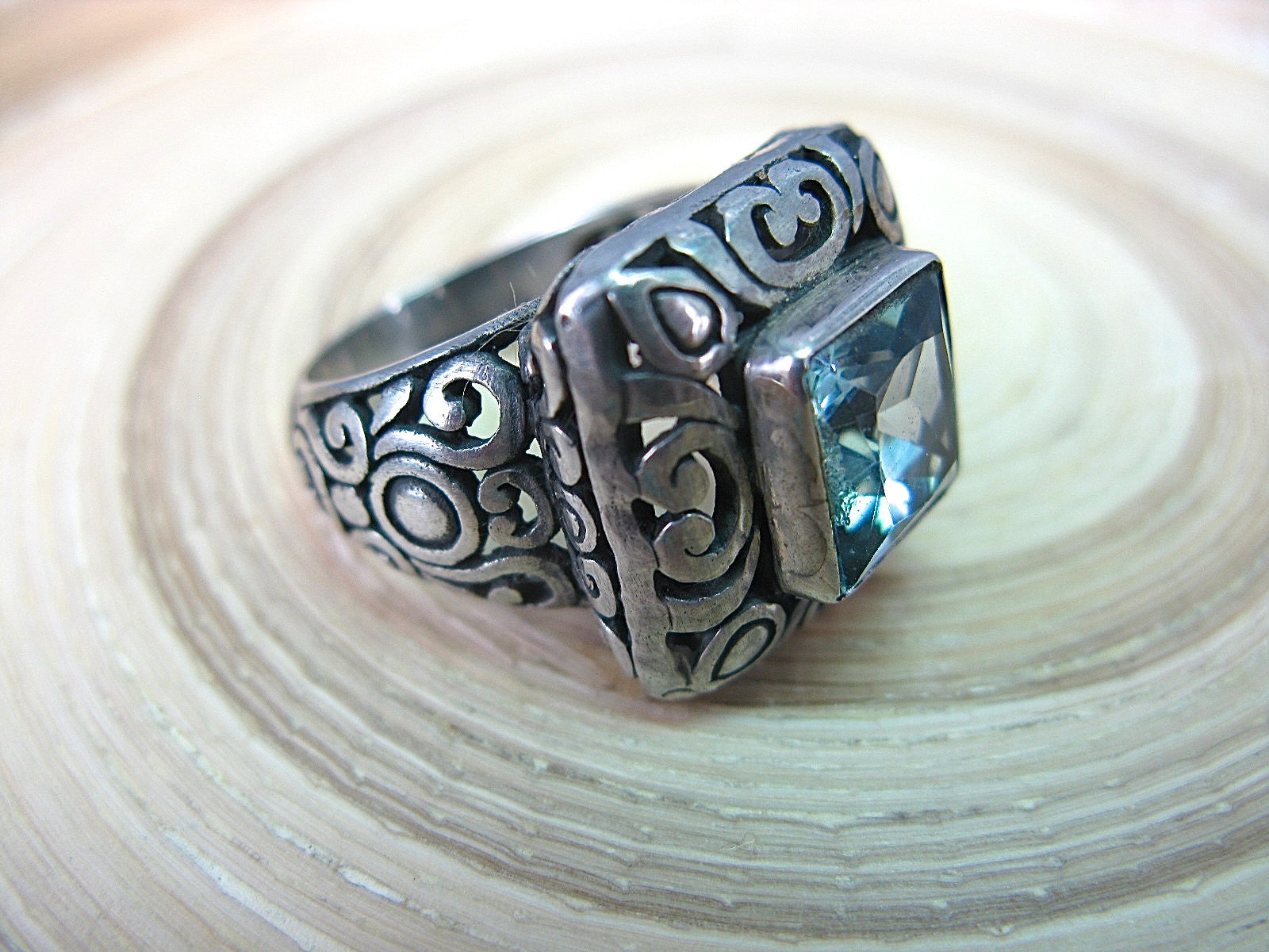 Balinese Blue Topaz Large Filigree Square 925 Sterling Silver Ring Ring - Faith Owl