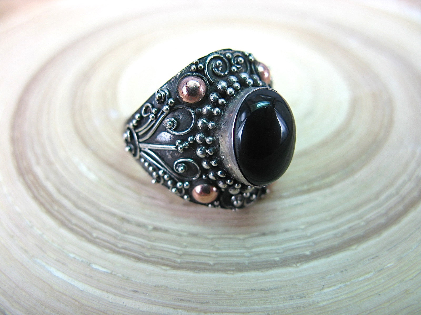 Balinese Onyx Oval Shaped 925 Sterling Silver Ring Ring - Faith Owl