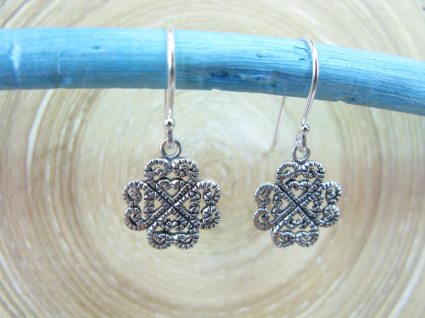 Clover Heart Filigree Lace Dangle Oxidized 925 Sterling Silver Earrings