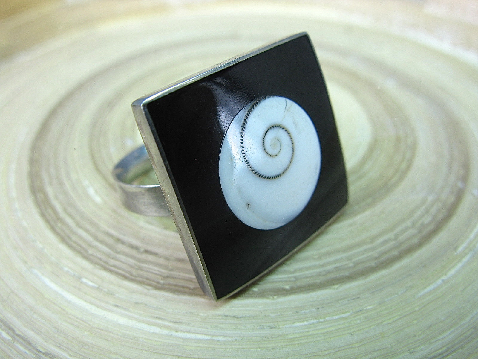 Handmade Large Sqaure Sea Shell 925 Sterling Sliver Ring Ring Faith Owl - Faith Owl