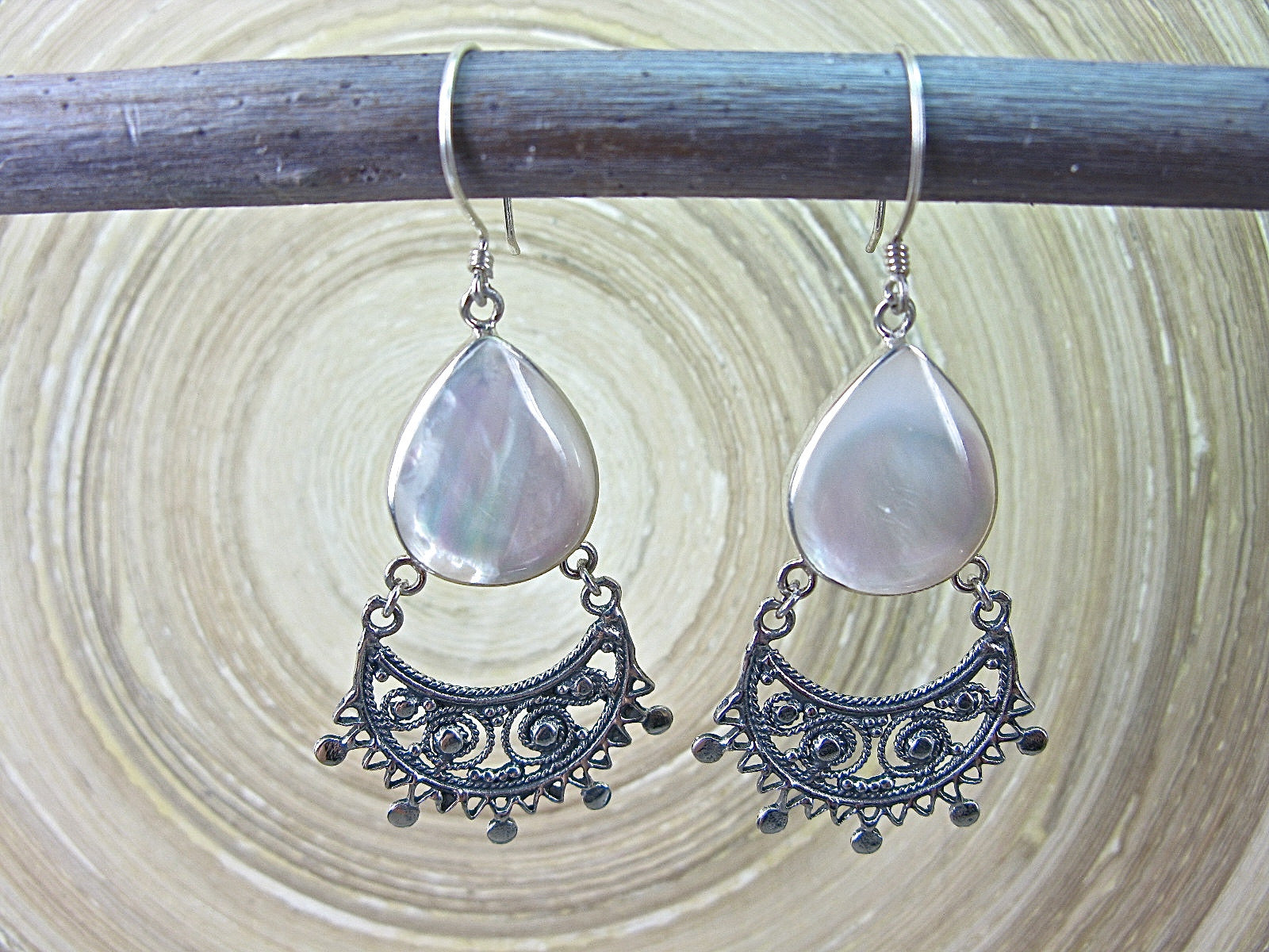 Balinese Filigree Mother of Pearl Oxidized 925 Sterling Silver Earrings Earrings - Faith Owl