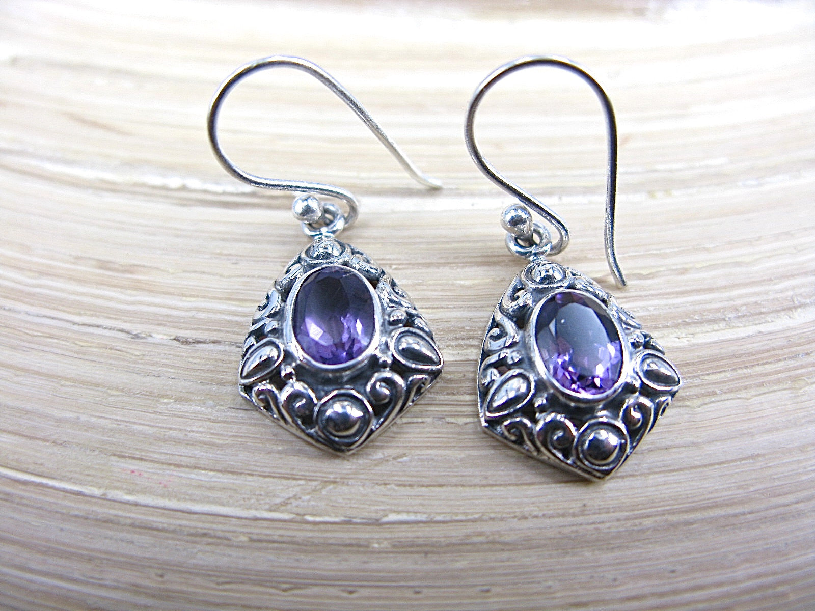 Amethyst Balinese Bead Oxidized 925 Sterling Silver Earrings Earrings - Faith Owl