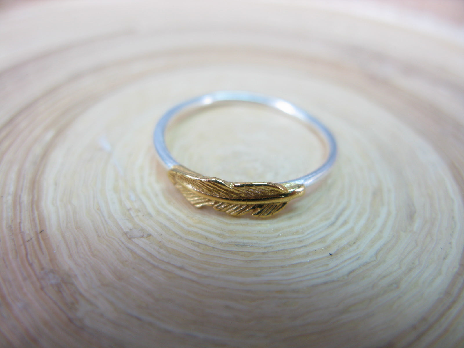 Feather Two Tone Gold Plated 925 Sterling Silver Ring
