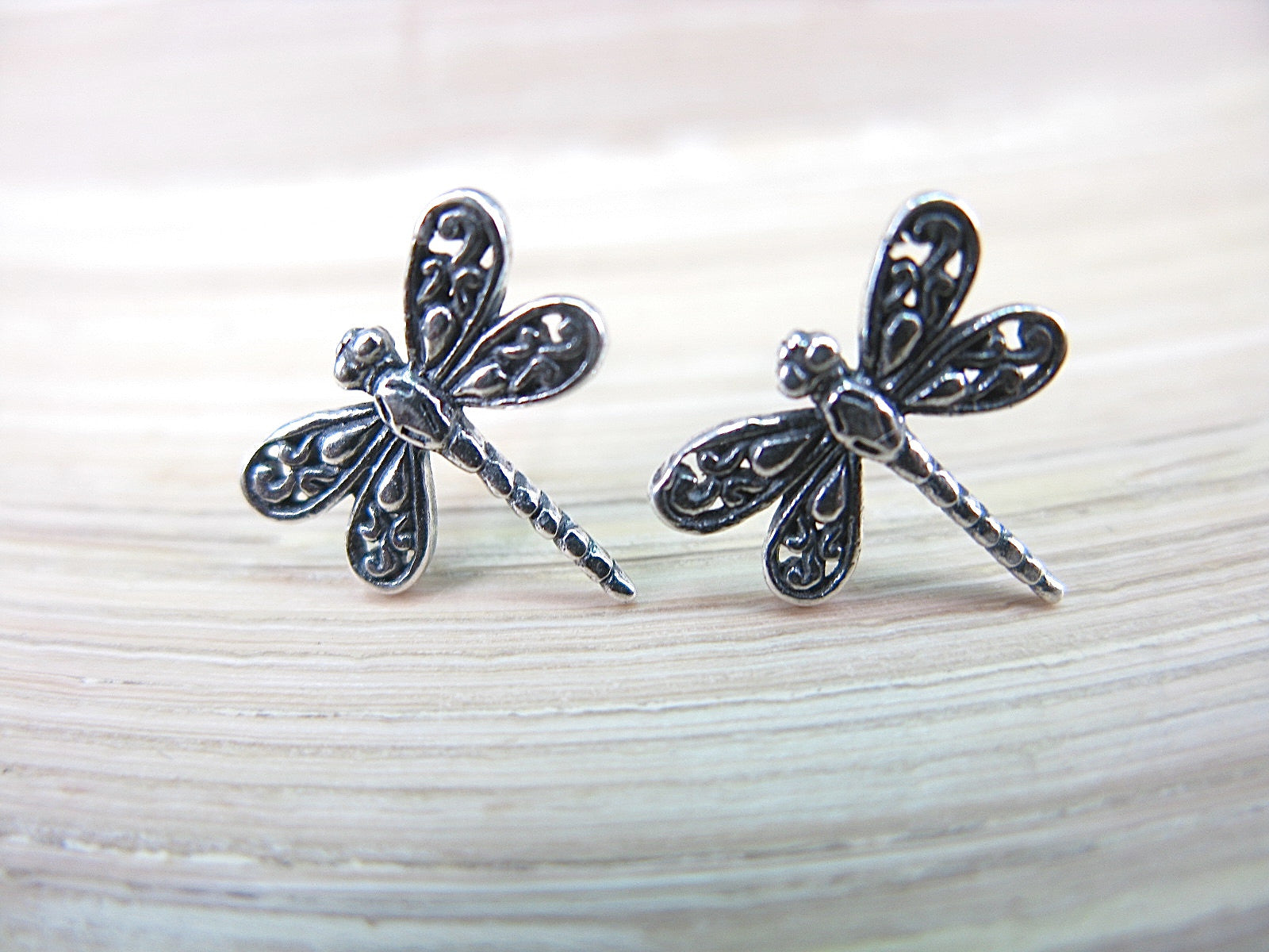 Dragonfly Oxidized 925 Sterling Silver Stud Earrings Stud - Faith Owl