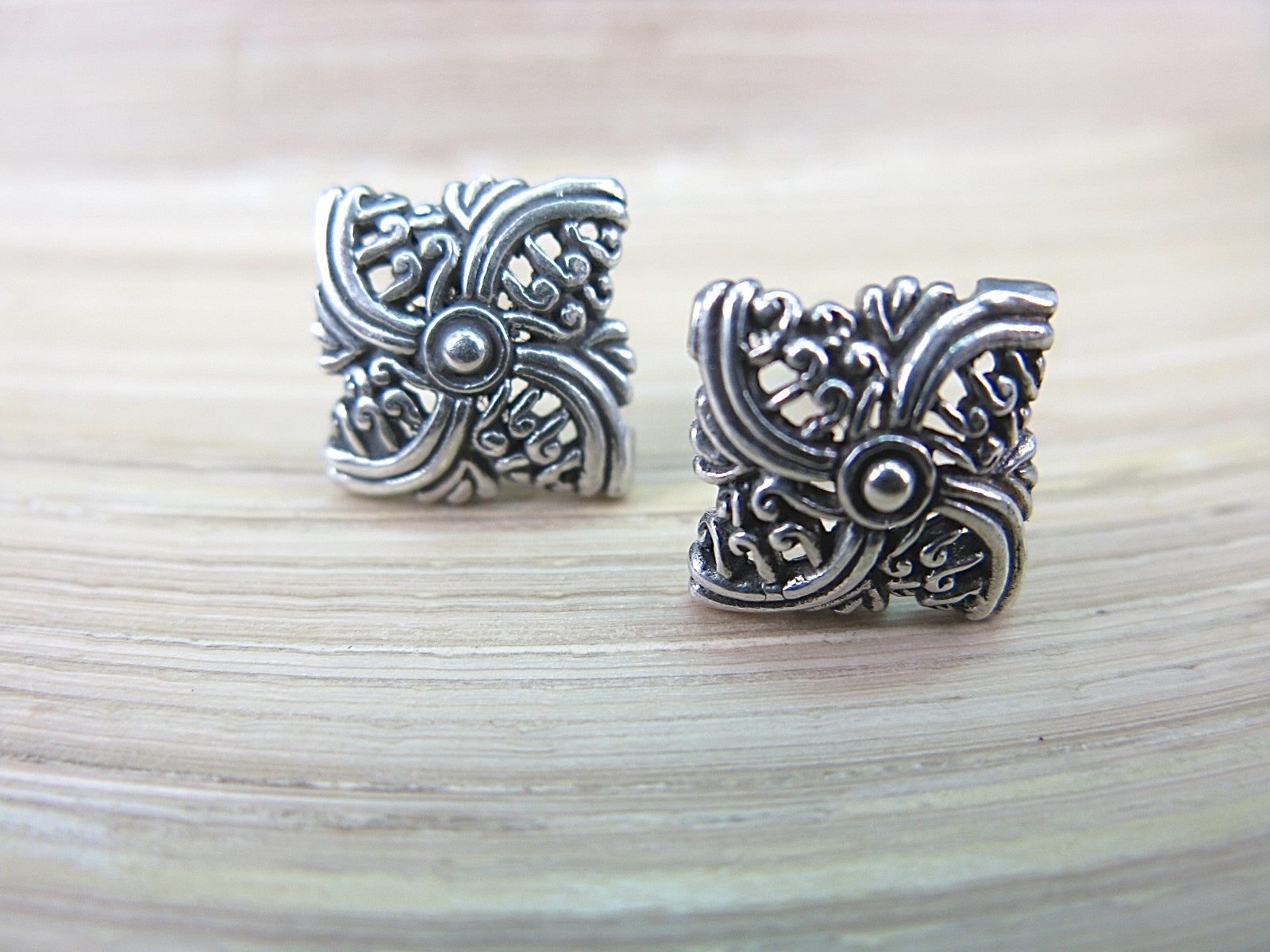 Filigree Square Balinese Swirl 925 Sterling Silver Stud Earrings Stud - Faith Owl