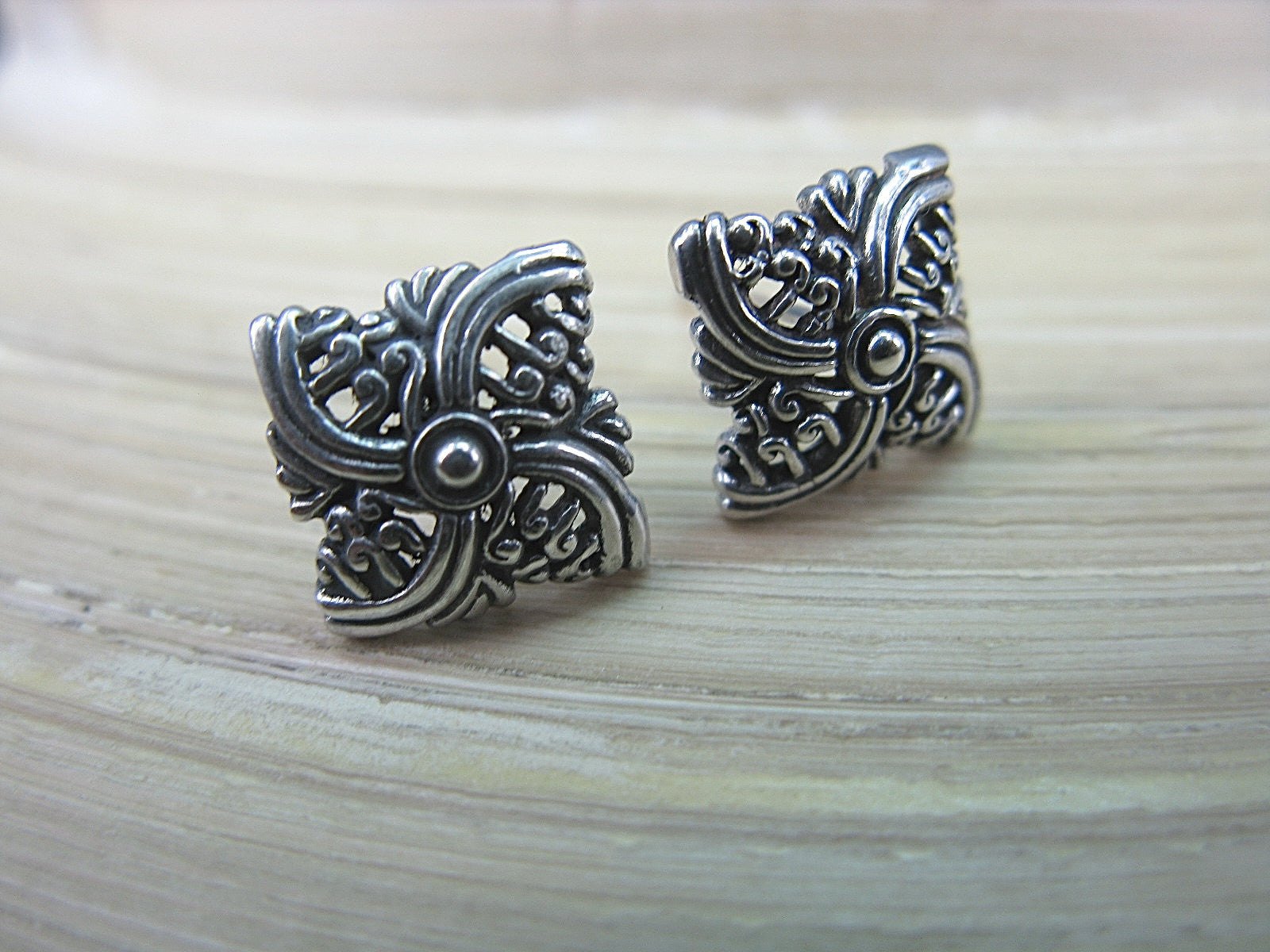 Filigree Square Balinese Swirl 925 Sterling Silver Stud Earrings Stud Faith Owl - Faith Owl